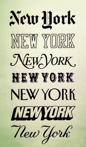 poster using the words New York to show different fonts