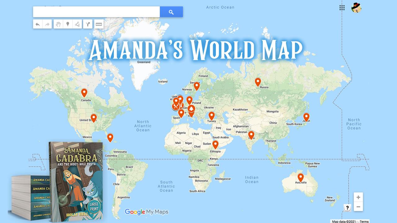 Custom Google Map of Amanda Cadabra cozy paranormal mystery series locations