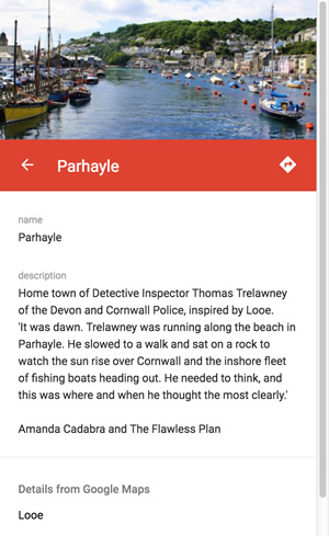 Left panel from Amanda's World custom GooglemPa showing 'Parhayle' text and image of Looe, Cornwall